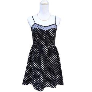 Xhilaration Black White Polka Summer Dress Small